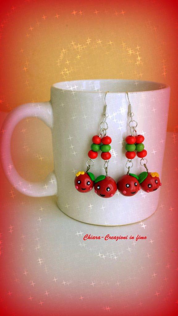 Orecchini in fimo handmade con ciliegie kawaii idee regalo compleanno bomboniere