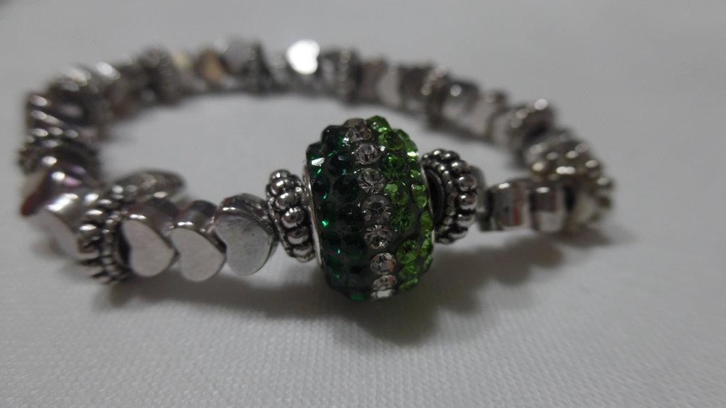 Bracciale acciaio verde swarovski verde