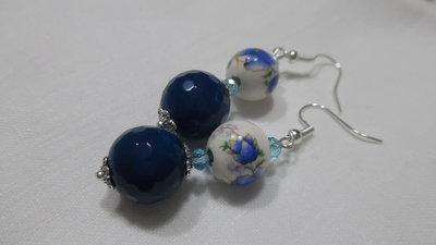 orecchini agata blu e fiore blu