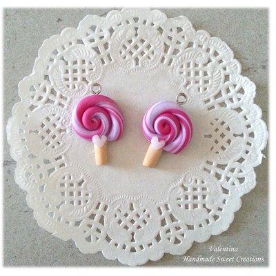 Ciondolo lollipop lilla fucsia- fimo