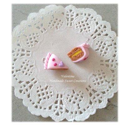 Ciondolo fetta di torta con cuore lilla - fimo