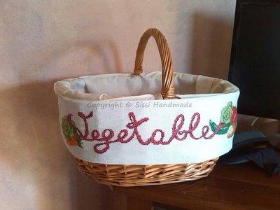 Ricamo verdure su bordura in tela Aida per cesto in vimini o altro