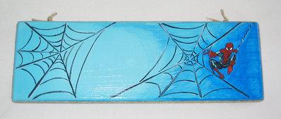 Base legno decorata con soggetto Siderman, fatta a mano, pezzo unico