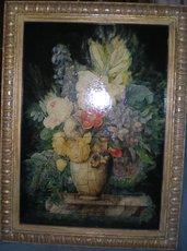 Quadro con una bellissima composizione di fiori realizzata a decoupage