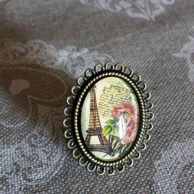 Anello regolabile cabochon vetro Parigi