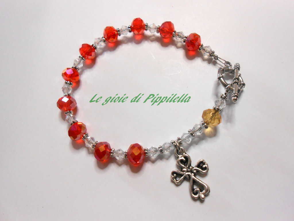 Bracciale rosario con cristalli rossi, idea regalo.