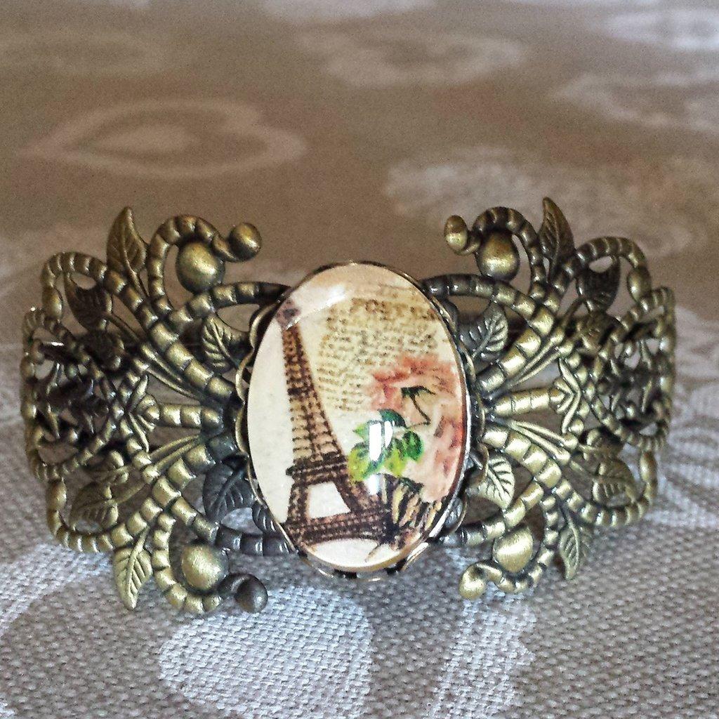Bracciale bangle color bronzo con cabochon Parigi