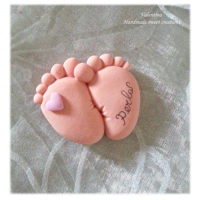 Coppia piedini con nome e data Nascita o Battesimo