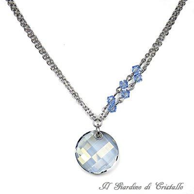 Collana in acciaio pendente Twist Swarovski blue shade cristalli blu fatta a mano - Verbena