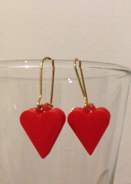 orecchini pendenti cuoricino rosso