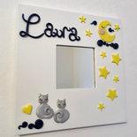Buonanotte Luna e stelle con gattini grigi - cornice specchio personalizzabile con nome
