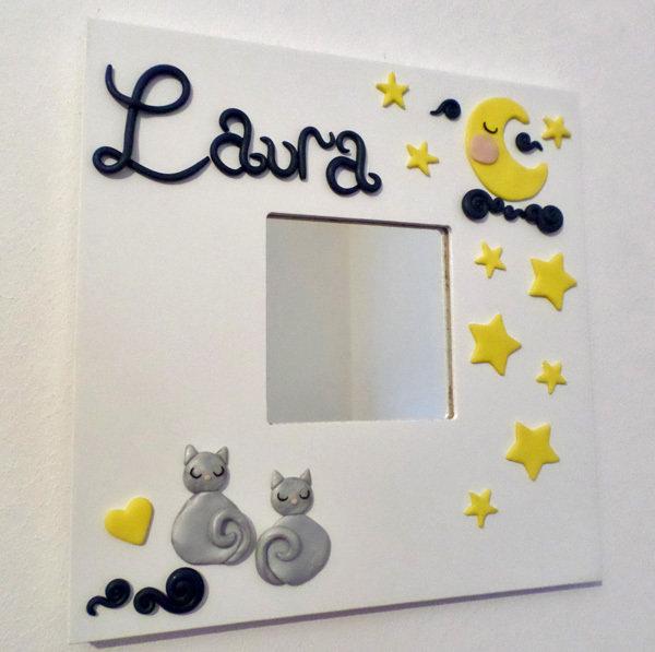 Buonanotte Luna E Stelle Con Gattini Grigi Cornice Specchio Perso