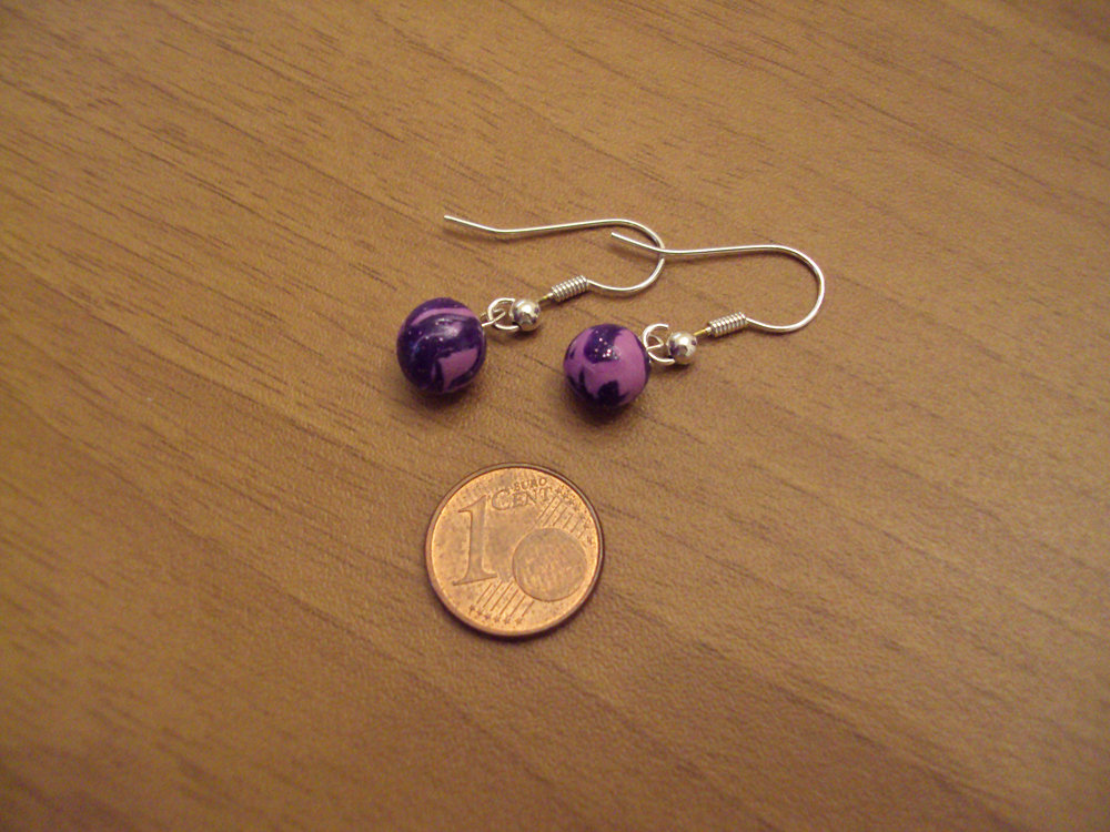 Orecchini palline viola glitterato-lilla