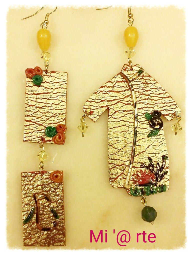 orecchini pendenti in pasta polimerica con foglia oro