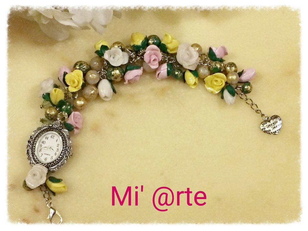 orologio con cinturino fiori e perle in pasta polimerica
