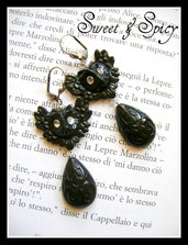 HANDMADE RESIN BLACK OWL EARRINGS-ORECCHINI CON GUFI E GOCCE IN RESINA INTERAMENTE REALIZZATI A MANO!