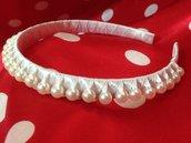 Cerchietto bianco con le perline fatto a mano