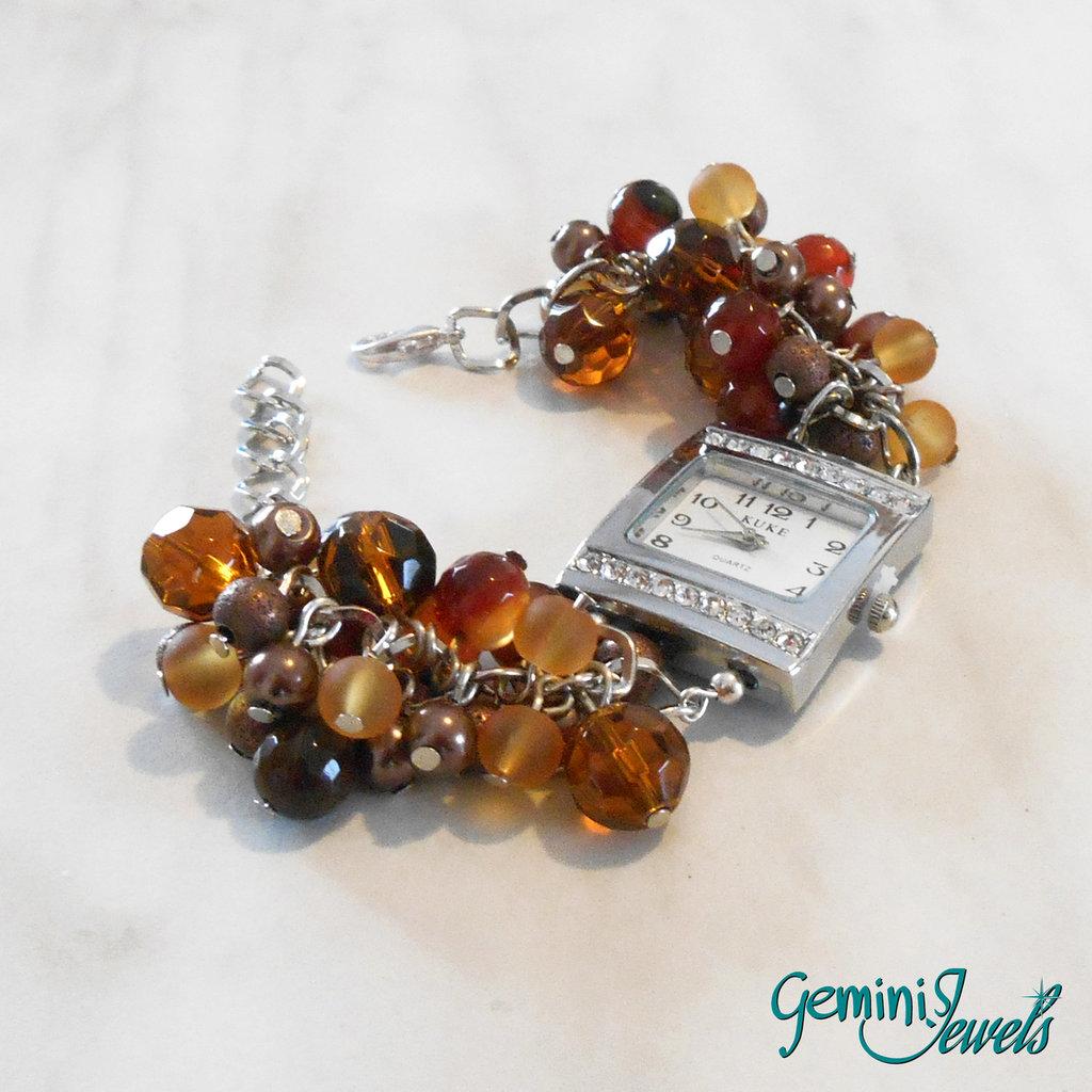 Orologio-bracciale donna con grappolo di perle bronzo e agata