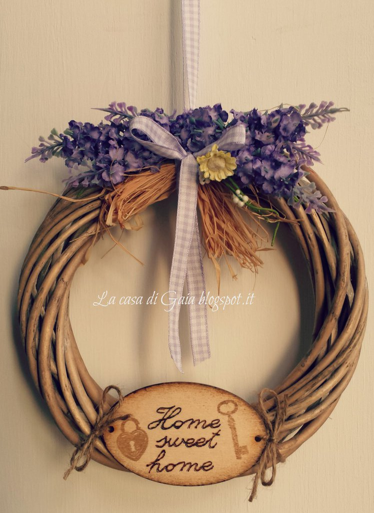 Ghirlanda country  Home sweet home con lavanda