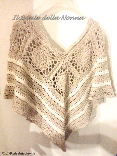 PONCHO DA DONNA IN COTONE ALL'UNCINETTO (art.72)