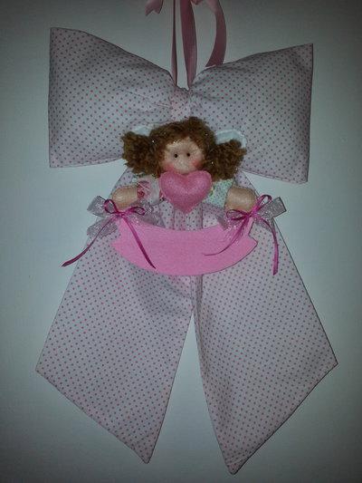 Fiocco nascita rosa a pois con bambolina