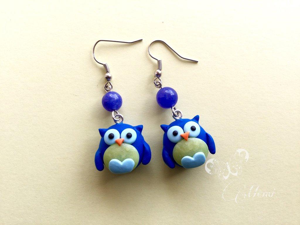 Orecchini gufo kawaii - modello blu - handmade
