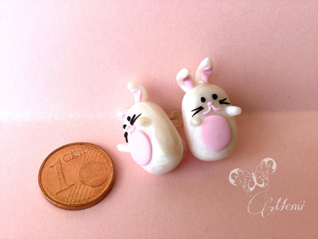 Orecchini a lobo Coniglietti kawaii - baby bunny handmade -