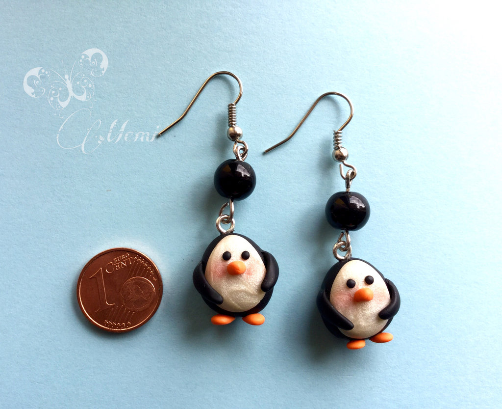 Orecchi pendenti Baby pinguini kawaii - handmade in pasta polimerica -