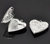 2 pz ciondolo cuore apribile per foto idea regalo s. valentino argento sterling