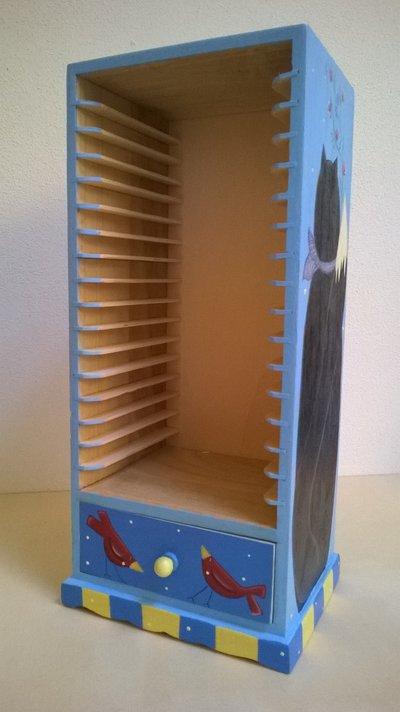 Mobiletto porta CD in legno dipinto a mano soggetto gattone - Per ...