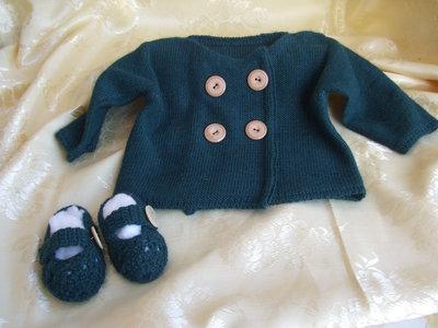 golfino copri fasce bimbi lana maglia+ scarpine