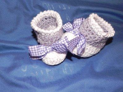 SCARPINE lana NEONATA  uncinetto scarpette BABY CROCHET