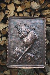 Cervo cerbiatto animale natura quadro in rame lavorato a mano