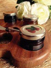 tavolozza portamarmellate in mogano completa di spatola in acciaio e vasetti di marmellata o miele (s.d)