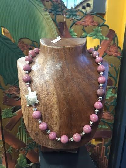 Collana in pietra dura, Rodonite. inserti e tartaruga in argento925