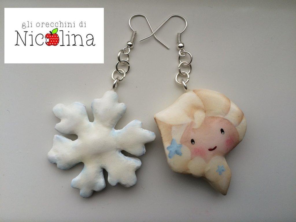 Orecchini C'era una volta ... Frozen Elsa e fiocco di neve
