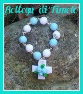 bomboniera coroncina rosario bianco e azzurro