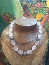 Collana in pietra dura, Quarzo Rosa. Inserti in Argento Indiano 925.
