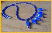 Collana blu perline e ciondoli
