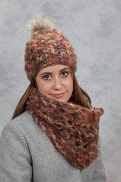 Scaldacollo  con berretto in lana