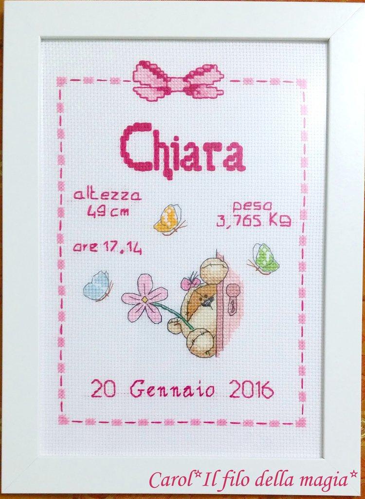 Quadretto nascita - fiocco nascita - FIZZY MOON CUCU' LEI -punto croce- B67
