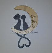 """Gatti sulla luna per ingresso di casa con scritta """"Casa Dolce Casa"""""""
