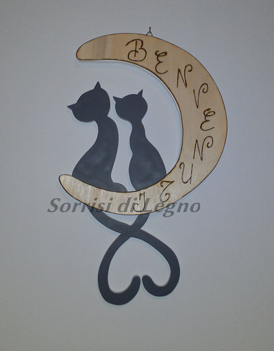 """Gatti sulla luna per ingresso di casa con scritta """"Benvenuti"""""""