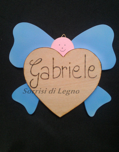 Angioletto fiocco in legno con nome personalizzabile