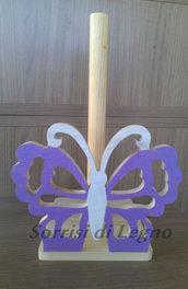 Portarotolo in legno farfalla traforata tonalità lilla