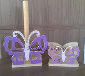Abbinato portatovaglioli e portarotolo farfalla traforata tonalità lilla