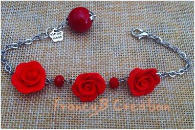 Bracciale Rose Rosse in Fimo