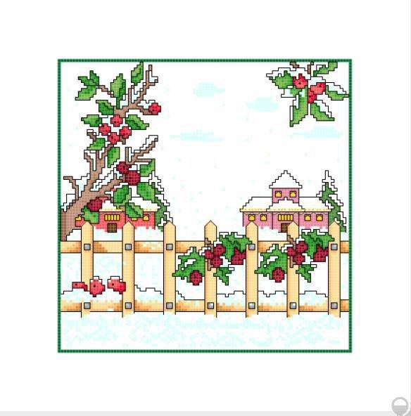 """Schemi punto croce """"Inverno e ciliegie"""""""