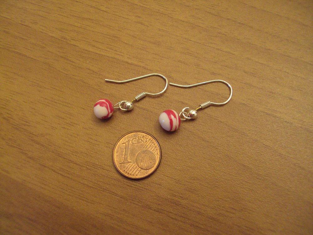 Orecchini palline bianco-fuxia