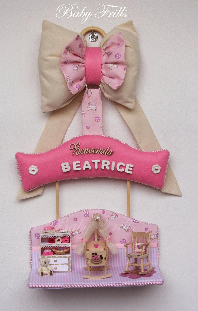 """Fiocco di nascita """"la dolce cameretta rosa""""   bambini   nascita ..."""